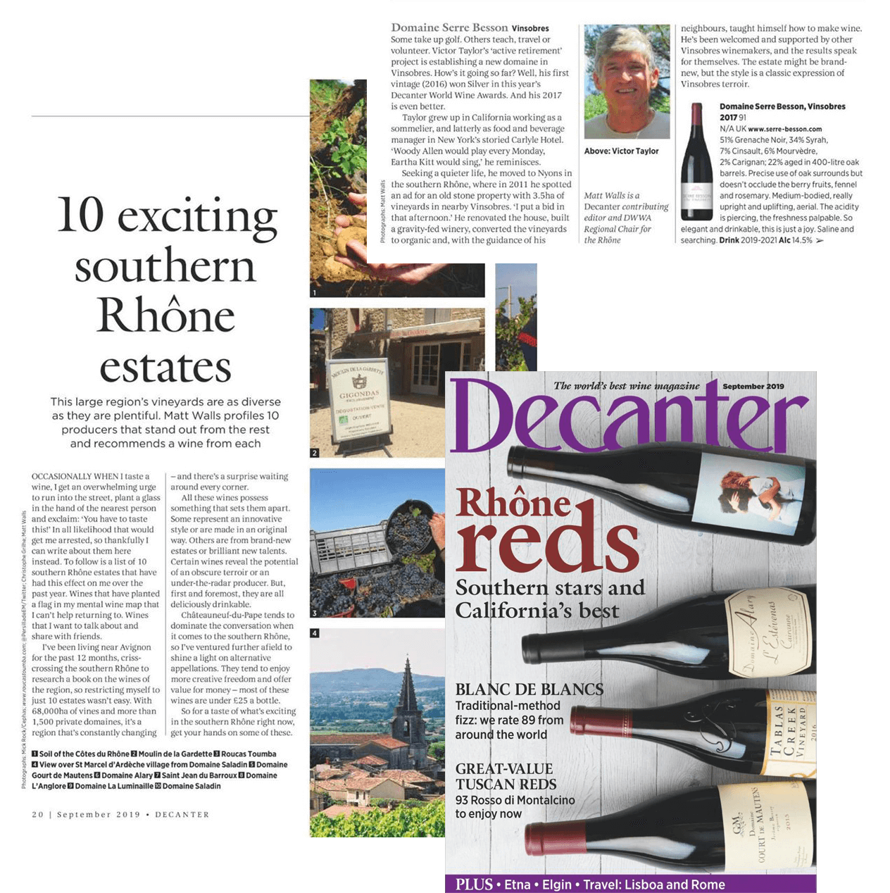 Decanter september 2019 - Best wine magazine - 10 exciting southern Rhône estates - Serre Besson Vinsobre 2017