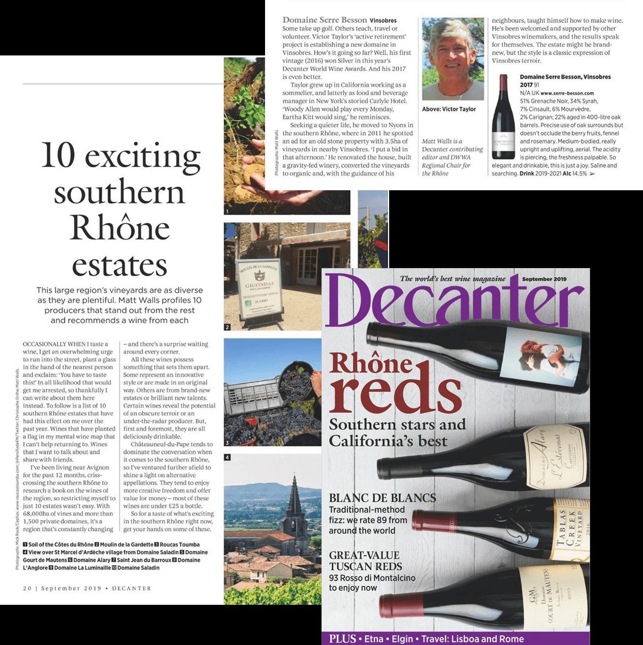 Decanter september 2019 - Best wine magazine - 10 exciting southern Rhône estates - Serre Besson Vinsobre 2017