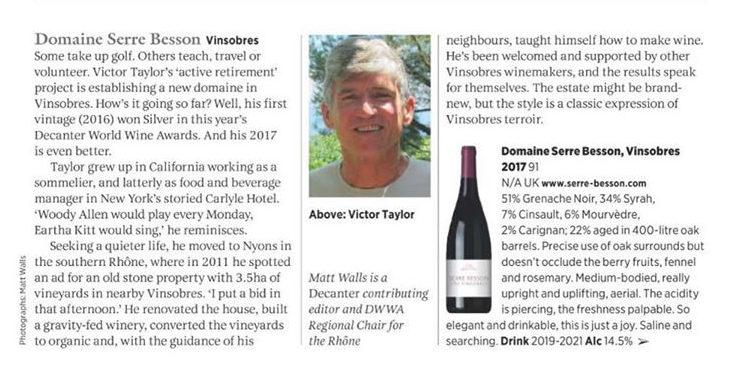 Decanter september 2019 - 10 exciting southern Rhône estates - Serre Besson Vinsobre 2017 - critique